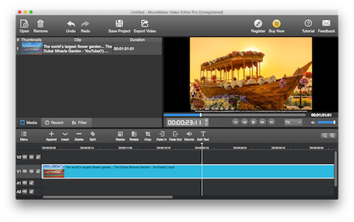 MovieMator Video Editor Pro is a powerful Mac video editor to edit videos easily. It allows users to edit video in many ways, like trimming, cropping, splitting, rotating, animate video with Keyframes and add stunning video transitions and effects.