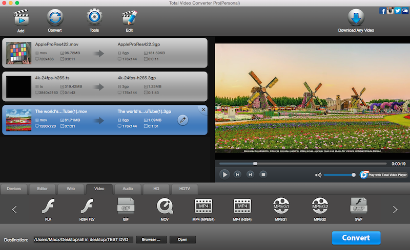 eTinysoft Total Video Converter Mac Screen shot