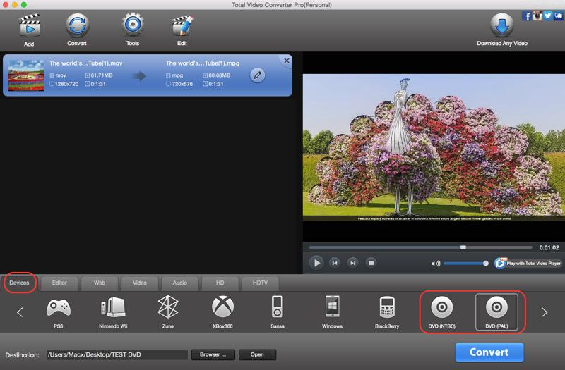 Total Video Converter for Mac OS X full screenshot